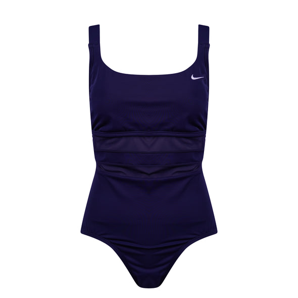 Nike Women's One Piece Mesh Swimsuit Navy Blue Size Large