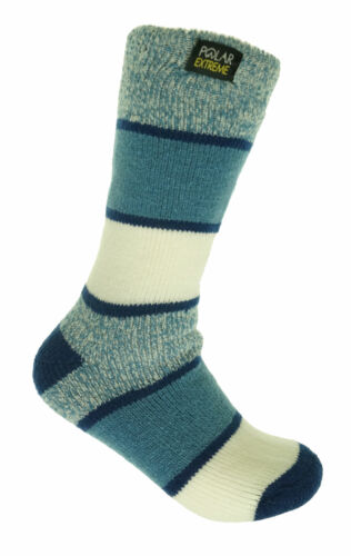 Polar Extreme Women's Thermal Insulated Lined Striped Crew Socks Blue White