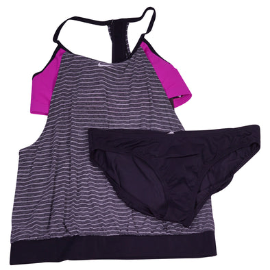Nike Women's 2 Piece Stripe Tankini Gray Purple Black Size XL