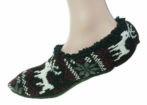 Polar Extreme Heat Men's Insulated Thermal Fleece Lined Slippers Black Reindeer
