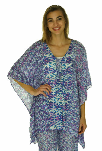 Bindya New York Women's Pullover Lace Up Cover Up Shirt Blue Purple $138