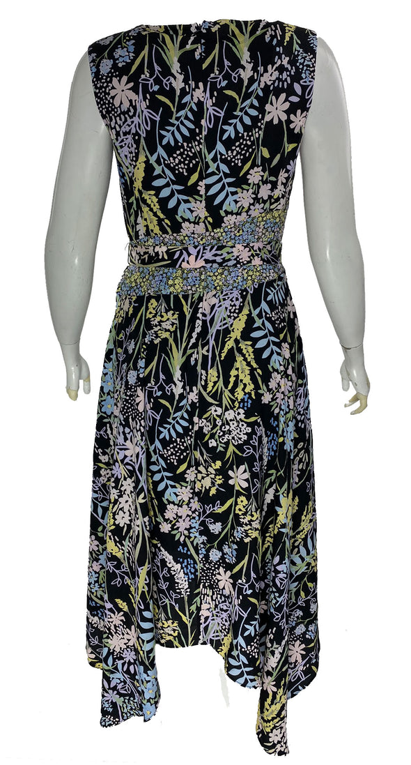 Calvin Klein Women's Floral Print V Neck Handerchief Hem Dress Black Size 4