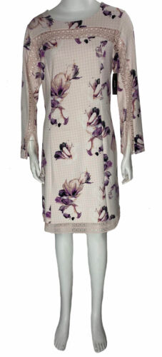 Alfani Women's Illusion Eyelet Floral Plaid Sheath Dress Pink Size 4