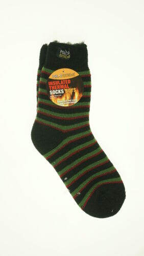 Polar Extreme Boy's Insulated Thermal Striped Crew Socks Green Black Red Stripes