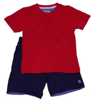 Penguin Boy's 2 Piece T Shirt Elastic Waist Short Set Red Navy Size 6