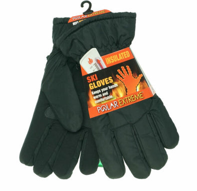 Polar Extreme Men's Heat Sherpa Lined Ski Gloves Black