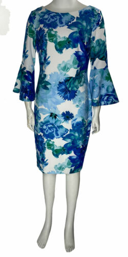 Calvin Klein Women's Floral Printed Bell Sleeve Dress Blue Multi