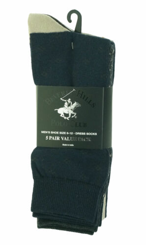 Beverly Hills Men's 5 Pair Fashion Design Dress Socks Navy Blue Tan Gray