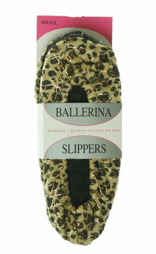 Design Studio by GMI Women's Slip On Ballerina Slippers Glitter Leopard