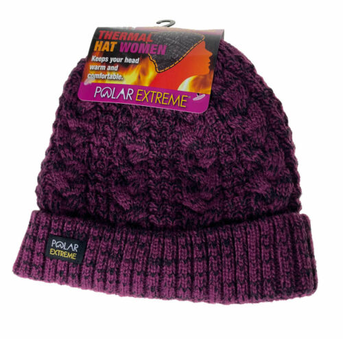 Polar Extreme Heat Women's Insulated Thermal Lined Marled Cuff Hat Purple Black