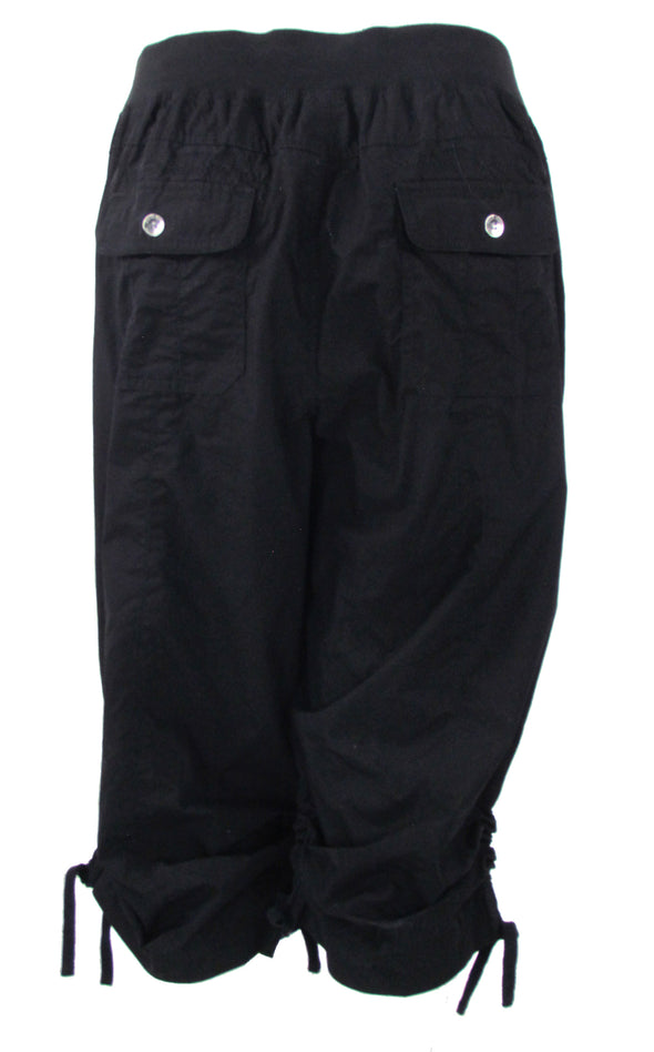 Calvin Klein Women's Performance Plus Size Cropped Ruched Cargo Pants Black 2X