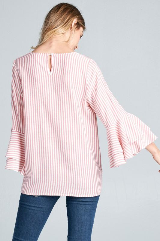 Cotton Bleu Striped Ruffle Sleeve Top Red