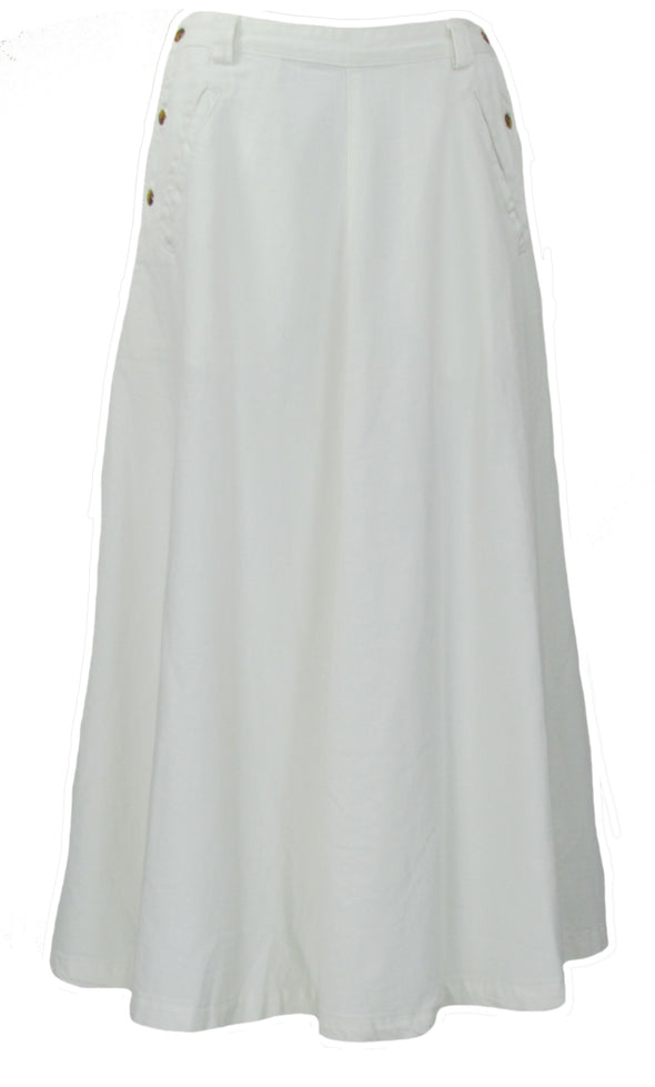 Free People Women's In The Groove Denim Maxi Skirt White Size 4