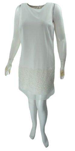 Betsey Johnson Women's Floral Sheer Shift Dress Ivory Size 14