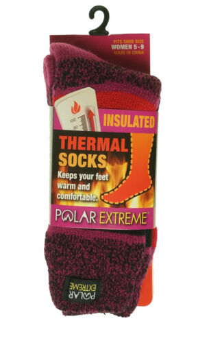Polar Extreme Women's Thermal Insulated Lined Striped Crew Socks Pink Red Black