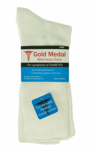 Gold Medal Unisex Wellness Diabetes Circulatory Mid Calf Socks White