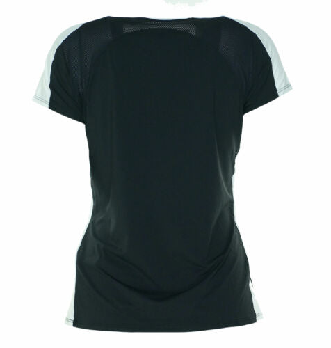 Asics Women's Striker Cap Short Sleeve Shirt Black White Size XL