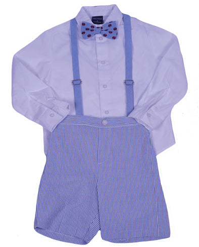 Nautica Boys 4 Piece Shirt Shorts Suspenders & Crab Bowtie Set Blue White Size 5