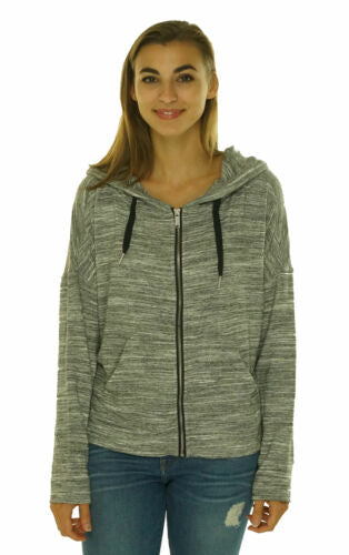 Calvin Klein Performance Women's Full Zip Fleec Lined Hooded Jacket Gray Multi