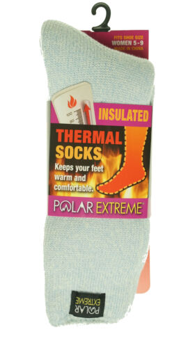 Polar Extreme Women's Thermal Insulated Fleece Lined Crew Socks Light Blue