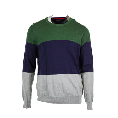 Tommy Hilfiger Men Colorblocked Long Sleeve Crew Neck Sweater Green Blue Gray XL