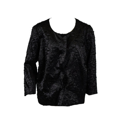 Alfani Textured Novelty Button Front Textured Jacket Black