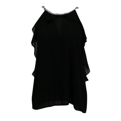 Michael Kors Women's Ruffled Chain Neckline Sleeveless Blouse Black Size XL