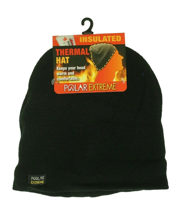 Polar Extreme Men's Thermal Insulated Beanie Hat Black