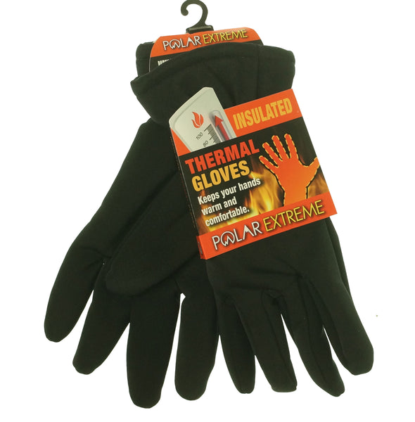 Polar Extreme Heat Men's Insulated Thermal Lined Stretch Gloves Black
