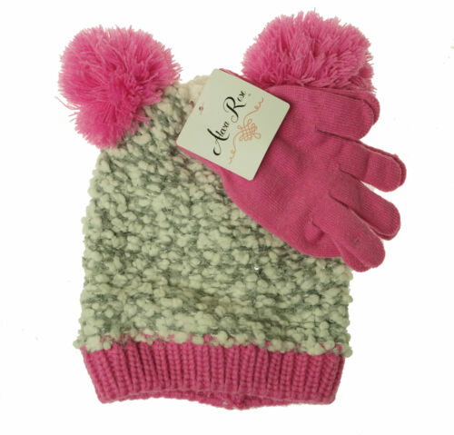 Alexa Rose Girl's Glove and Hat with Pom Pom Set Light Pink