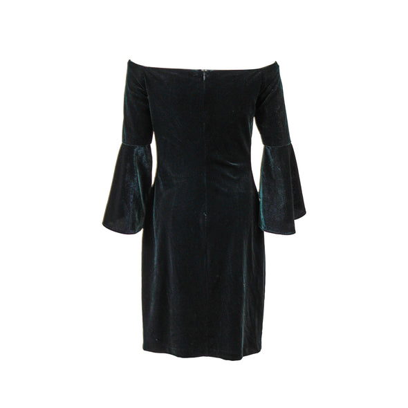 Lauren Ralph Lauren Women's Off The Shoulder Velvet Dress Green Size 4