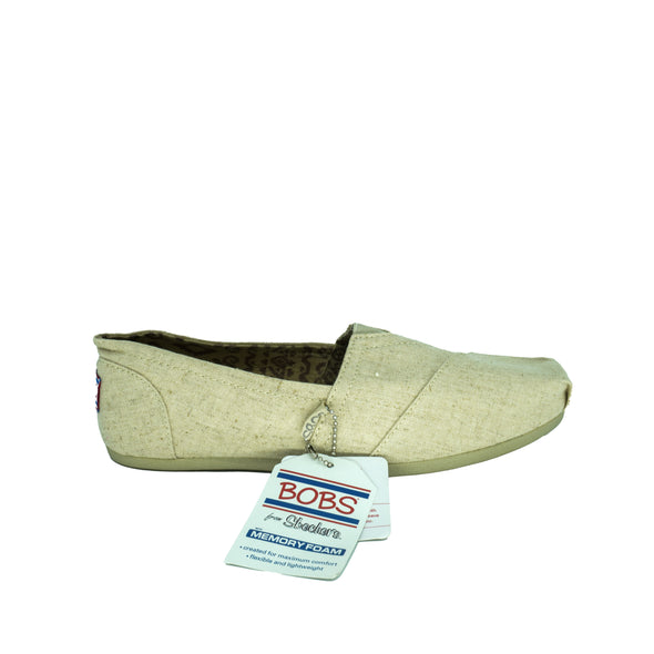 BOBS Skechers Women's Plush Best Wishes Flat Slip On Shoe Natural Linen Beige 7