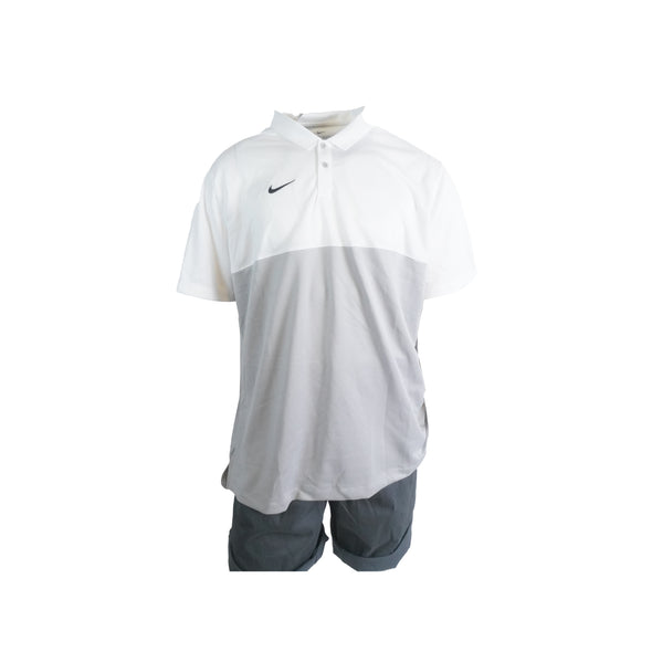 Nike Men's Dri Fit Short Sleeve Color Block Polo White Gray Size XXL