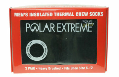 Polar Extreme Men's 2 Pair Thermal insulated Fleece Crew Socks Black