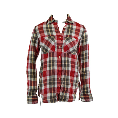 Denim & Supply Ralph Lauren Plaid Boyfriend Button Front Shirt Red Multi