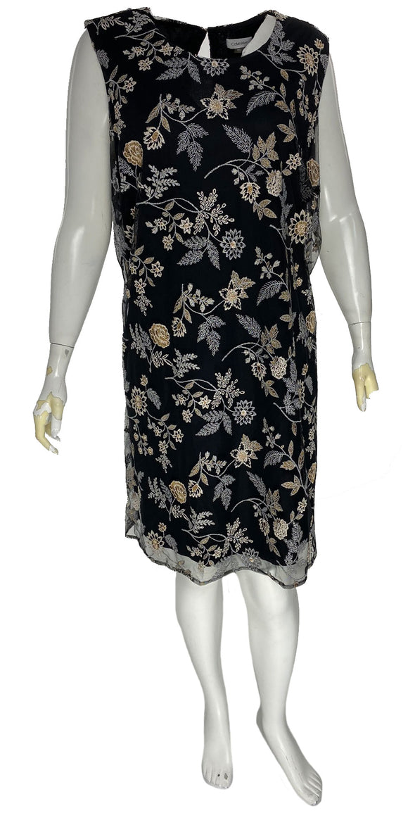 Calvin Klein Women's Plus Size Embroidered A Line Dress Black Size 22W