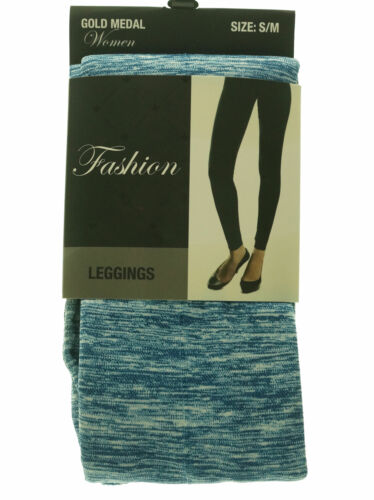 Gold Medal Women's Fashion Seamless Stretch Leggings Tie Dyed Marled Black Blue