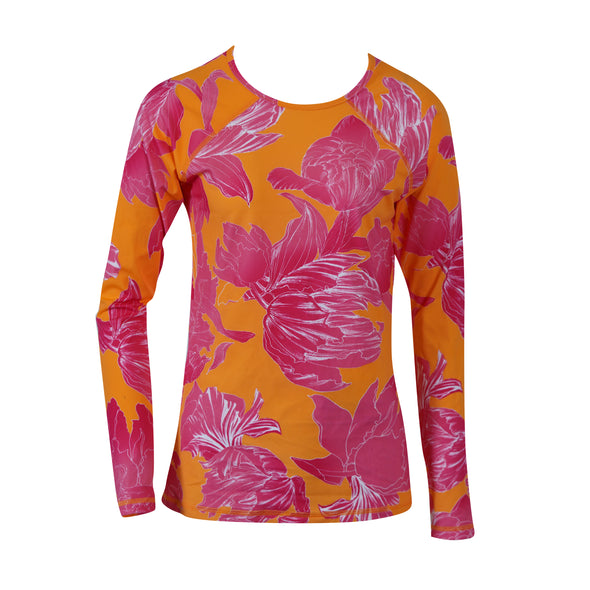 Athleta Womens Rash Guard Long Sleeve Pink Orange Medium