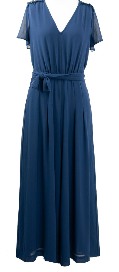 Michael Kors Women's Cropped Wide Leg Georgette Jumpsuit Navy Blue Size 2
