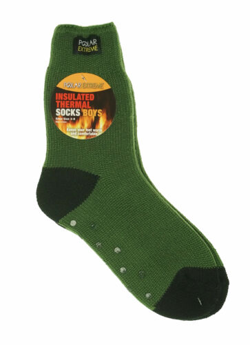 Polar Extreme Boy's Insulated Thermal Striped Crew Socks Green Black
