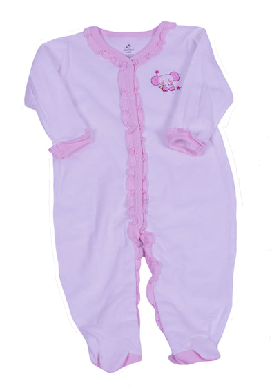 Absorba Baby Girl's One Piece Snap Front Elephant Footie Outfit White Pink 6/9 M