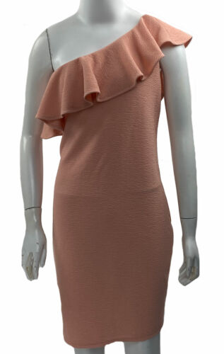 BCBGeneration Women's One Shoulder Ruffle Bodycon Dress Coral Rose Size Large