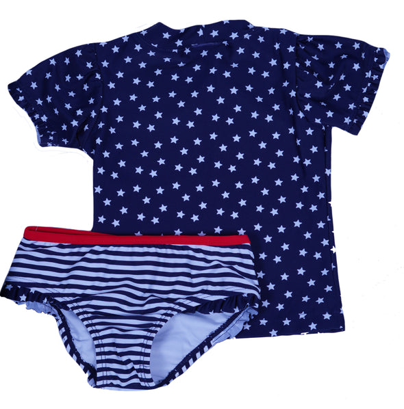 Kiko & Max Little Girl's Star Short Sleeve 2 Piece Rashguard Swim Set Blue Red