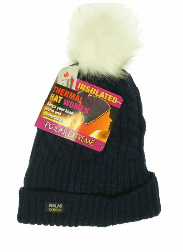 Polar Extreme Women's Thermal Lined Insulated Pom Pom Cable Knit Beanie Navy