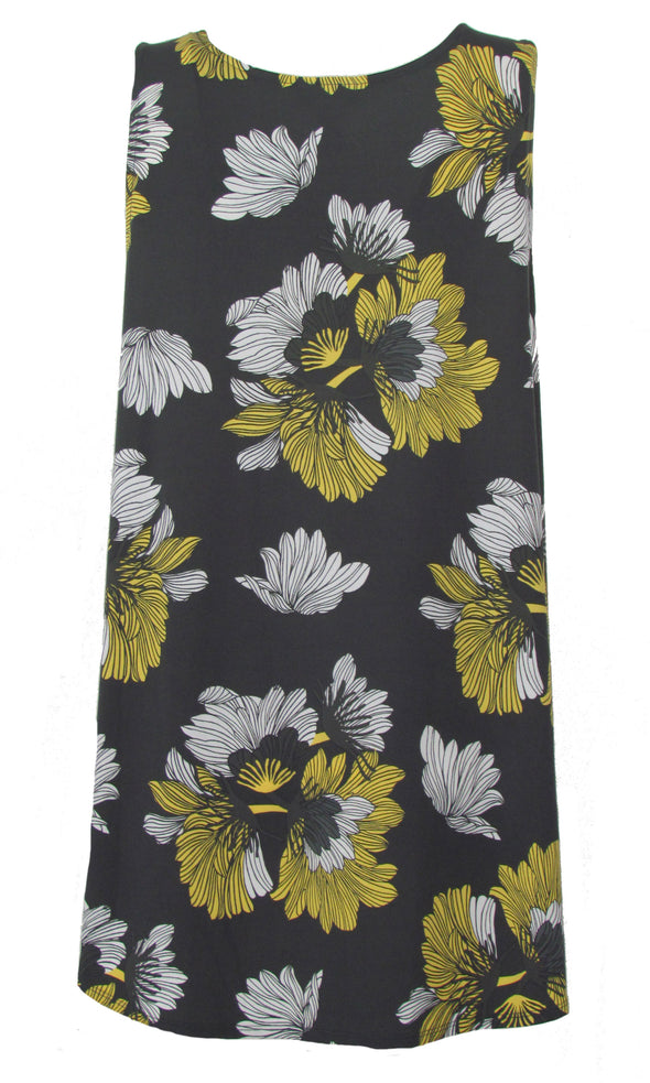 Alfani Women's Plus Size Sleeveless Floral Printed Tunic Shirt Gray Yellow