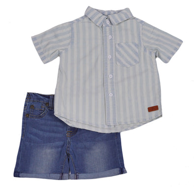 7 For All Mankind Baby Boy's Short Sleeve Striped Shirt Denim Shorts Set Blue Size 12 Months