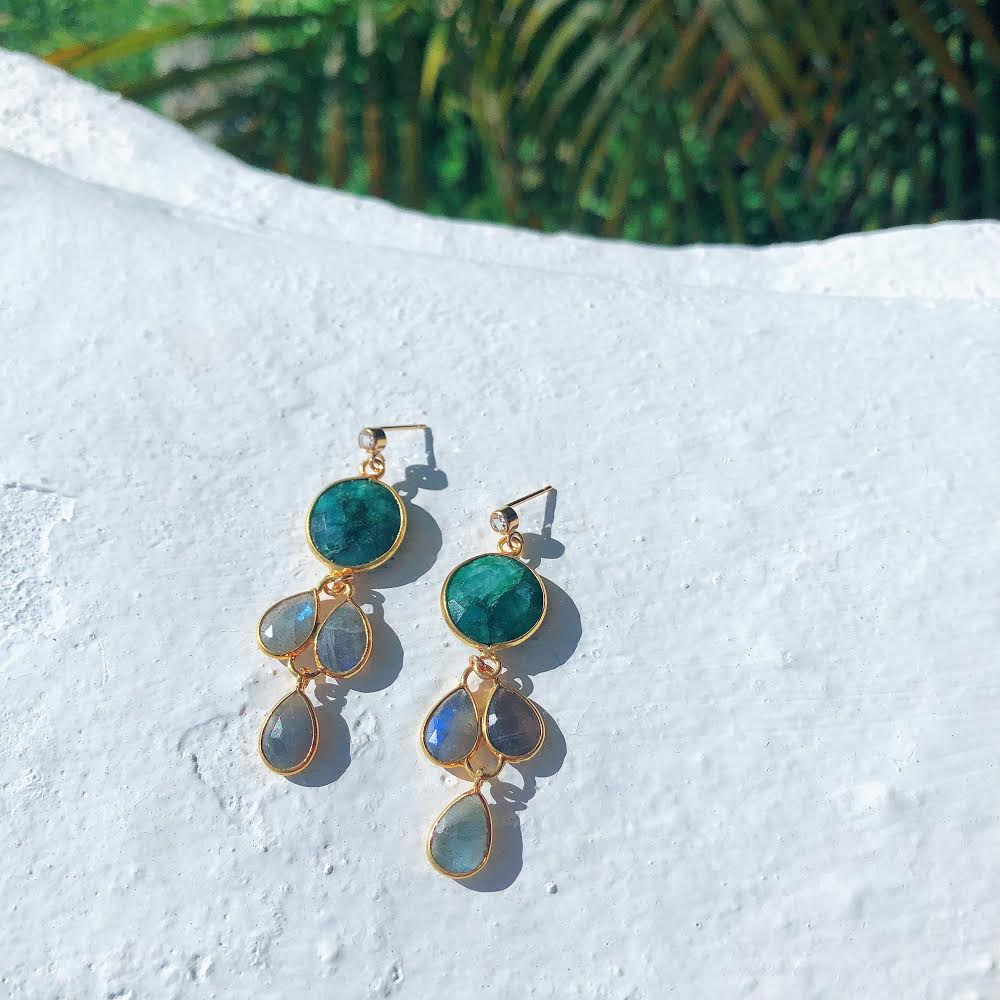 Emerald Green Earrings with Labradorite Drops