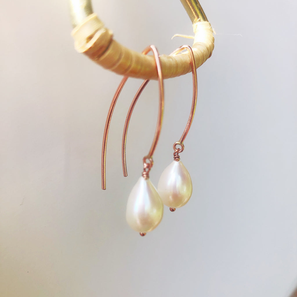 Rose Gold Marquis Pearl Earrings