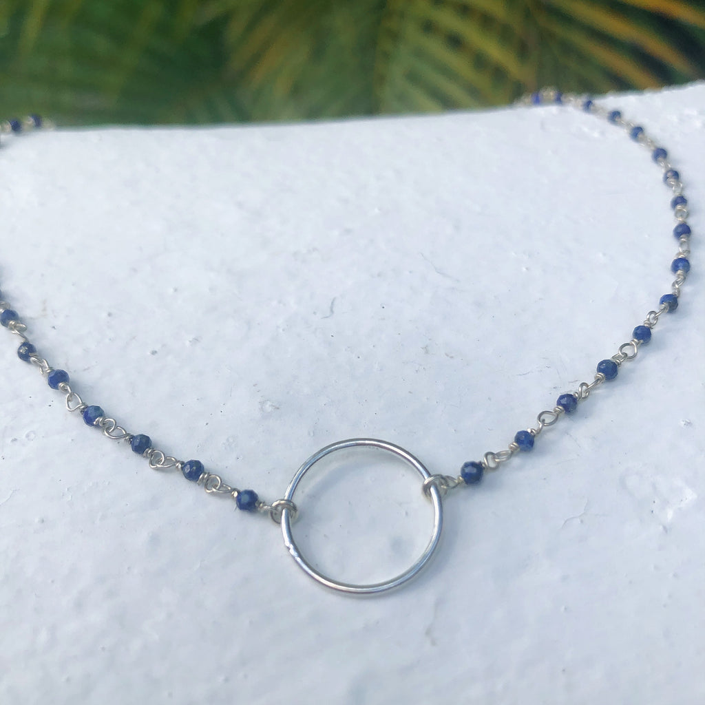 Silver Circle Beaded Necklace