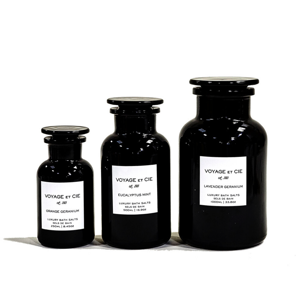 SELS DE BAIN - BOTANICAL MINERAL SALTS IN VIOLET GLASS